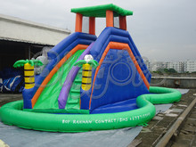 FREE SHIPPING BY SEA Cheap PVC Commercial Inflatable Slide ,Inflatable Slide With Pool(China (Mainland))