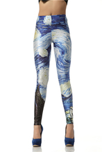 Nadanbao Women leggins 3D  Digital Van Gogh Starry Night Galaxy Print Women Leggings    KDK1019(China (Mainland))