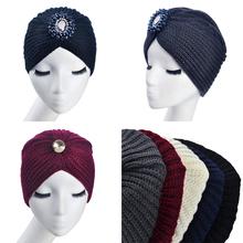 2016 HOT Ladies Metal Jewel Accessory Winter Warm gem Turban Soft Knit Headband Beanie Crochet Headwrap Women Hat Cap 3 Styles(China (Mainland))