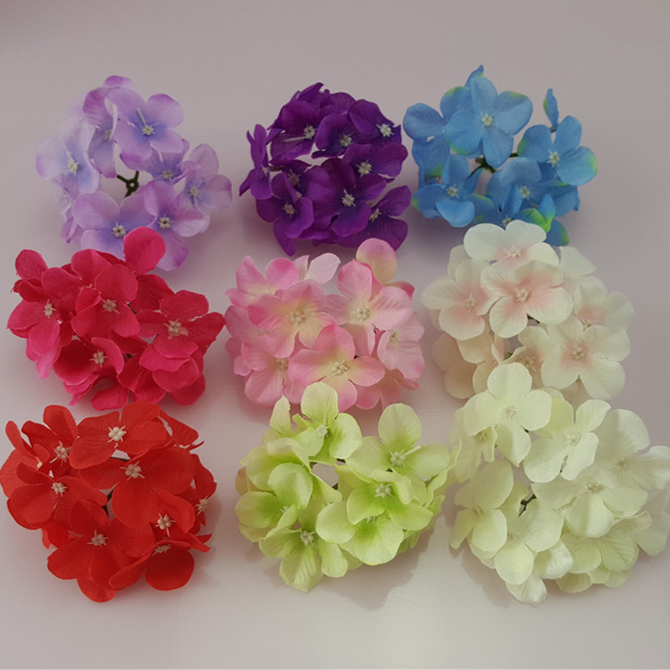 DIY Craft Artificial hydrangea Flower Heads For Bridal Wreath Wrist Wedding Home New Year Decoration 30PCS(China (Mainland))
