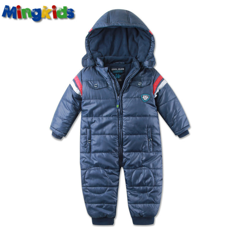 Russian mingkids Baby Snowsuit Infant Boy Rompers Ski Jumpsuit Outdoor Winter Warm Thicken Snow Suit for boys fleece padded