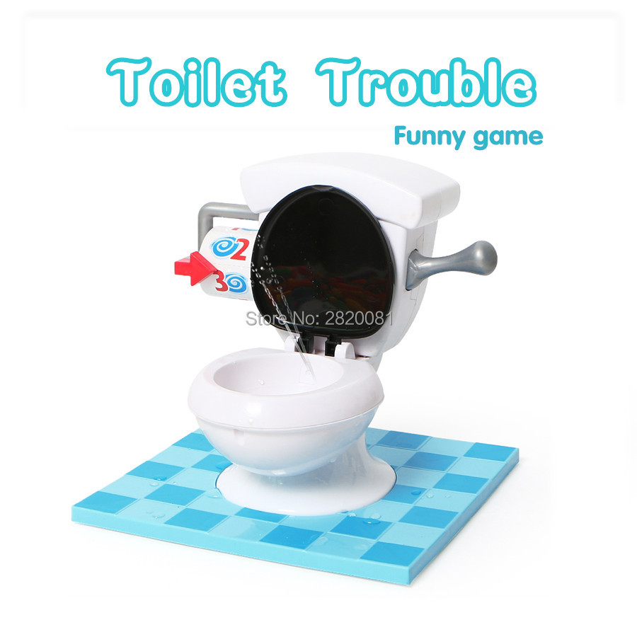party family funny game toilet toy trouble,practical joke game plastic electronic Spin flush toilet closestool for kid 2+players(China (Mainland))