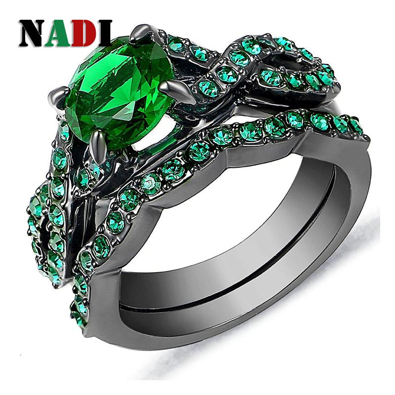 R7878 fashion black color deep green cz green zircon stone ring set for women free shipping 6/7/8/9/10(China (Mainland))