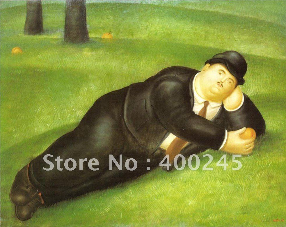 High Quality,Home Deco ,Abstract oil painting,Man Reclining, 1978 by Fernando Botero paintings,100%handmade,free shipping(China (Mainland))