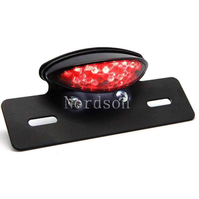Free Shipping Cateye Red Lens LED Motorcycle Brake Tail Light Lamp License Plate Light for Harley Suzuki Custom Bike Choppers(China (Mainland))