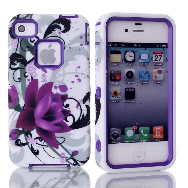 For Apple iPhone4 4S Lotus Pattern Defendered Hybrid Hard Rubber Rugged Combo W/Protector Case Cover+1pcs of Screen Protector(China (Mainland))