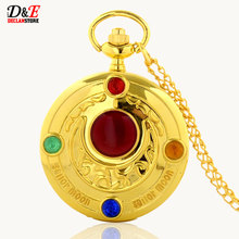 Wholesale Price Colorful Rhinestone Famous Anime Sailor Moon Series Women Golden Roman Quartz Pocket Watch Necklace Gift P550