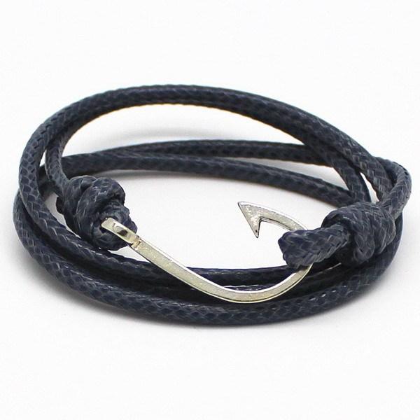 Винтажный Rock ювелирные изделия кожа браслет крючки браслеты для женщины мужчины ...