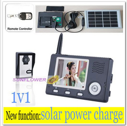 Newest Solar power charger intercom systems/wireless door bell /monitor camera record with remote control free shipping(China (Mainland))