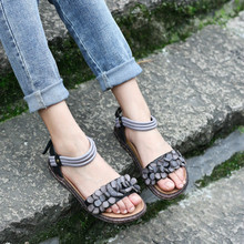 Discount Summer Womens Grey Flats For Sale Genuine Leather Ladies Flower Sandals Brand Handmade Femal Ankle Strap Shoes Comfort(China (Mainland))