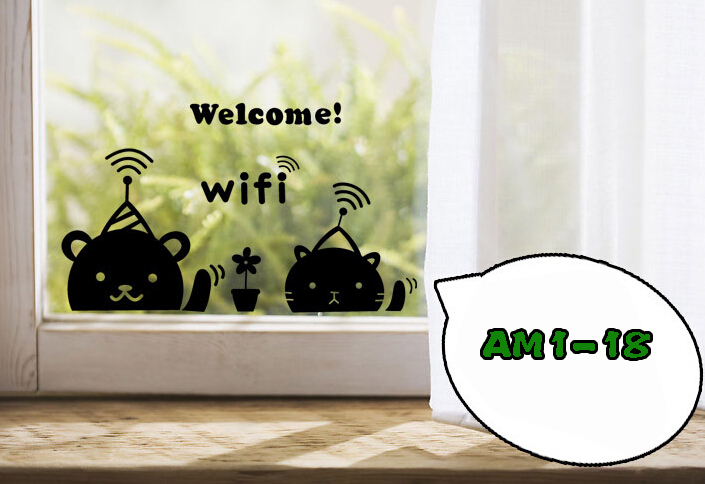 5p Bear Hotel store shop office glass wall window adhesive service warning label sticker wifi coffee chat service sign sticker(China (Mainland))