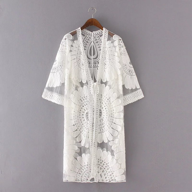 Women Cardigan Summer Long Lace Patchwork Three Quarter Sleeve V-neck Thin Perspective Woman Tops CW1856(China (Mainland))