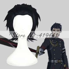 Free Shipping 30cm Short Black and Blue Seraph of the end Wigs Guren Ichinose Synthetic Anime Cosplay WigCS-245D(China (Mainland))
