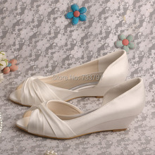 Wedopus MW494 Ivory Satin Wedge Heel Ladies Wedding Bridal Shoes Peep Toe(China (Mainland))