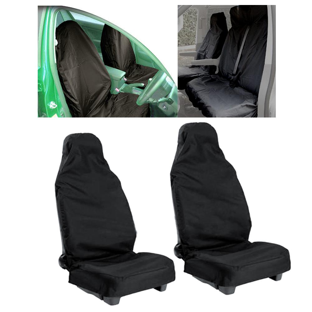 Universal 2pcs car Vehicle Van Waterproof Nylon Front Seat Covers Black Protectors Durable High quality(China (Mainland))