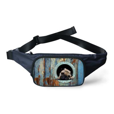 Designer Cute Pug Dog Print Fanny Pack for Women Cat Tactical Pouch Durable Boys Running Sport Waist Bag Men Travel Money Belt(China (Mainland))