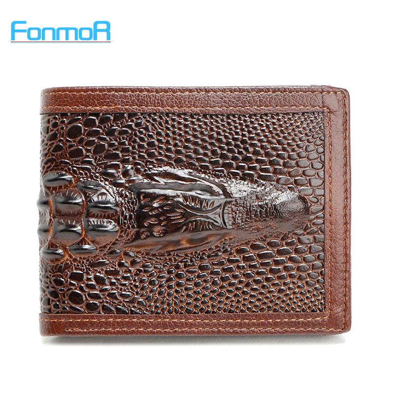 FONMOR Genuine Leather Men Wallets With Credit Card Holders Short Designer Male Vintage Purses Crocodile 3D purse Wholesales(China (Mainland))