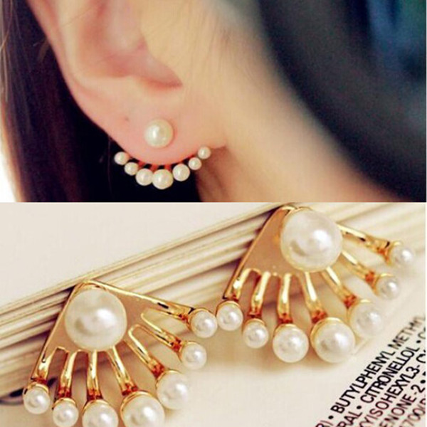 New Arrival Fashion Korean Small Imitation Pearl Earrings Dragon Hand Ear Cuff Ear Stud New Cute Charms Mother's Days Gifts(China (Mainland))