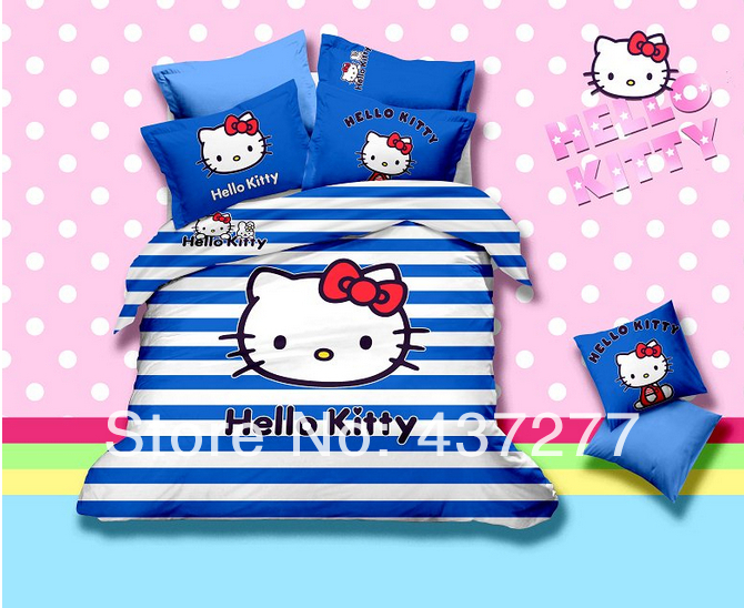 blue and white stripe Hello Kitty printing bedding cotton fabric full queen size duvet/quilt cover sheets comforter sets 4/5pc(China (Mainland))