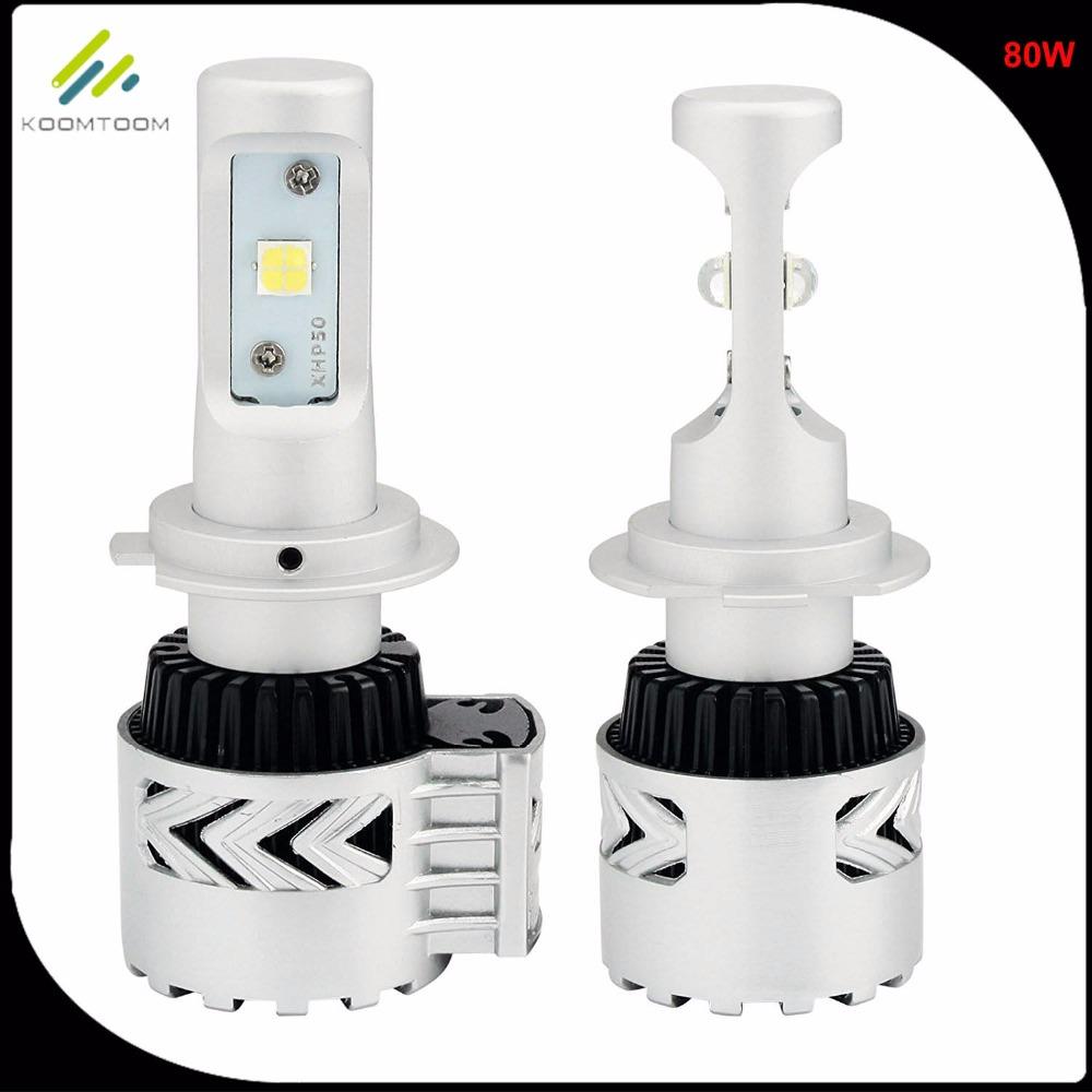 H7 Auto Headlight Bulb Car H7 LED Headlight Lamp H1 H3 H4 H8 H11 H16 9005 9006 9012 880 881 9004 9007 H13 80W 6000LM White 6500K(China (Mainland))