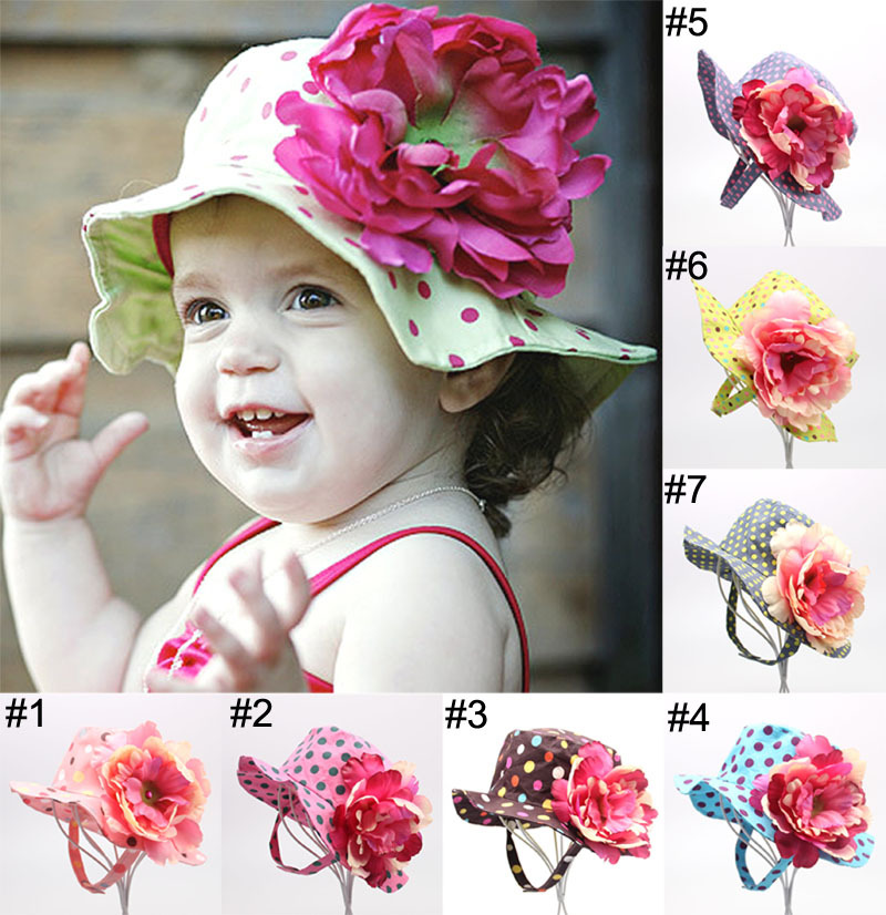 New Baby sun Hat girls boys Summer big flower hats kids children cap 7 types can pick 5pcs/lot(China (Mainland))