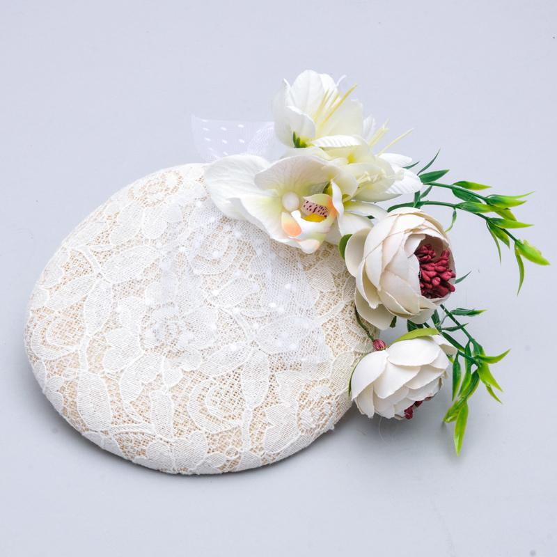 Hohe Qualität Handgemachten Leinen Romantische Gefälschte Blume Blumen Braut Hat Fancy Royal Lace Headwear Hochzeit Lady Haar Zubehör(China (Mainland))
