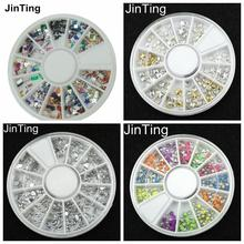 2016 New 4 styles 12 different shapes of color DIY 3d nail art Rhinestones Glitter Decoration(China (Mainland))