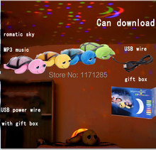 Free shipping can Download MP3 music + USB big eyes star lamp birth turtle baby toy sky night light turtle for kids/ children(China (Mainland))