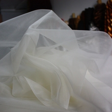 Organza 140 cm 8 mm Off White Color Natural Silk Fabric 100% mulberry silk gauze 55'' width 50 yards wholesale O1(China (Mainland))