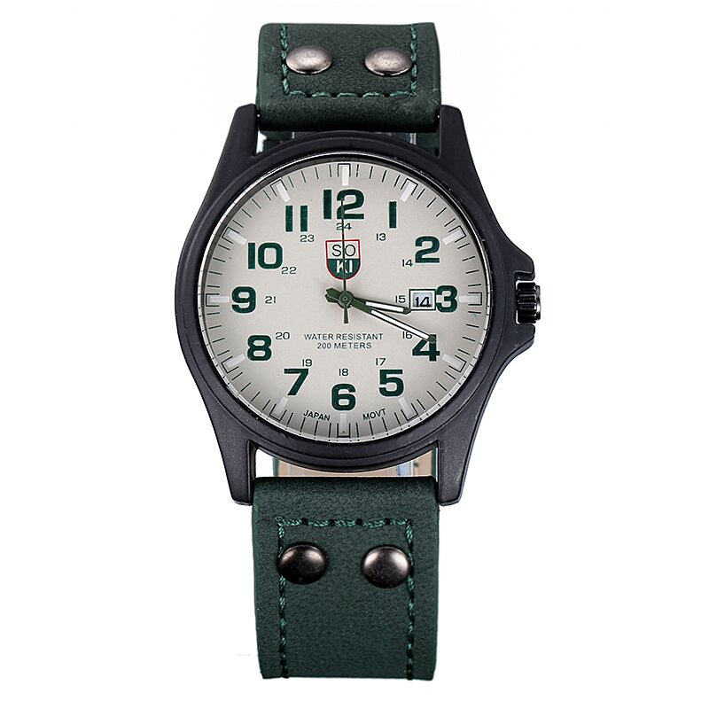 Гаджет  Man Military Style Watch, Quartz Watch Leather Strap And Calendar Function Free Shipping None Часы
