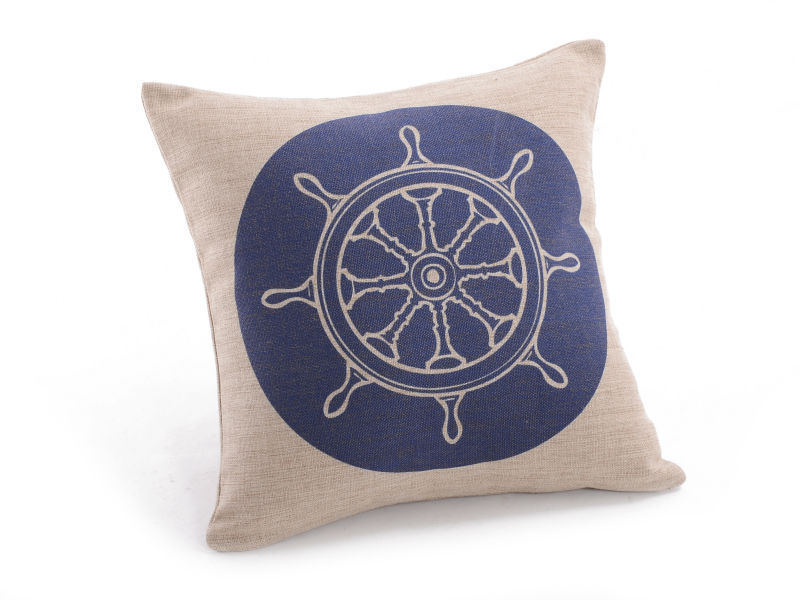 "Free Shipping Home Decorative Linen Pillowcase Navy Blue Compass Throw Pillow Shams Cushion Cover 18"" x 18""(China (Mainland))"