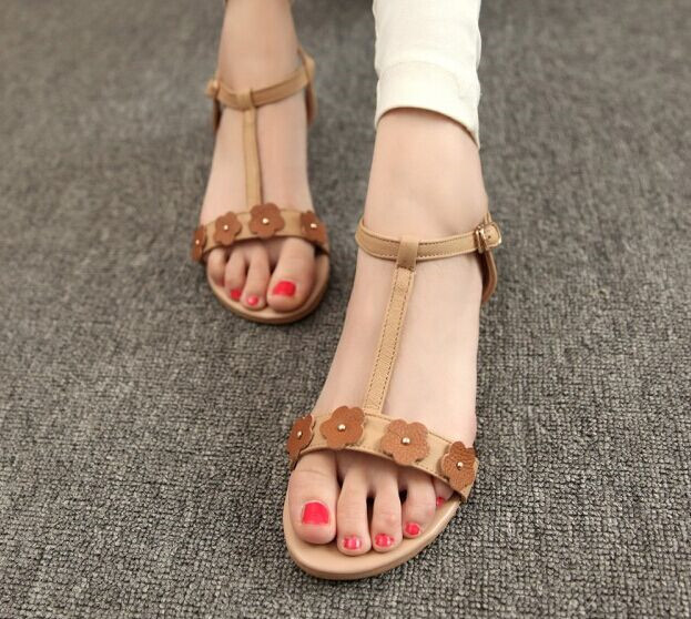 Free Shipping 2014 Fashion Summer Women Shoes Beach Shoes Floral Sandals Slides Size 35~39