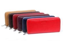 Nouvelles femmes réel véritable cuir 6 couleurs Zipper sac à main portefeuille Long jour embrayages mode femme Lady porte - monnaie titulaire de la carte sac(China (Mainland))