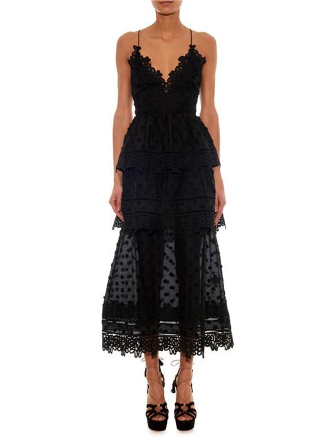Автопортрет 2016 черного кружева платье без рукавов кружева длинном черном платье