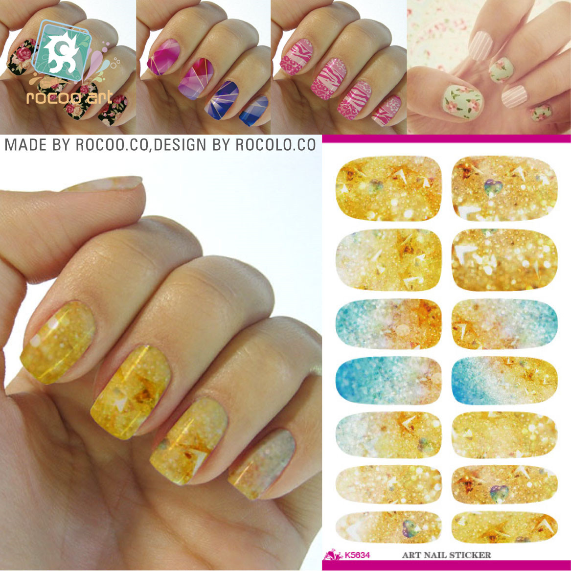 Gold Flash Bling Bling Nail Diy Art Tips Decoration Sticker Nails Wraps Styling Glitter Rhinestones Water Transfer Sticker(China (Mainland))