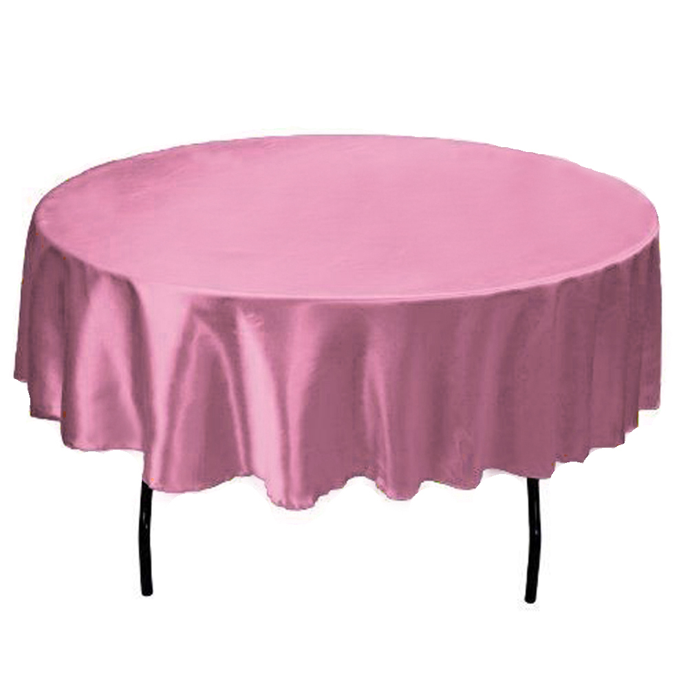 145cm Satin Table Cloth Round Tablecloth fabric Table Cover For Home Wedding restaurant Party Christmas Decoration purple pink(China (Mainland))