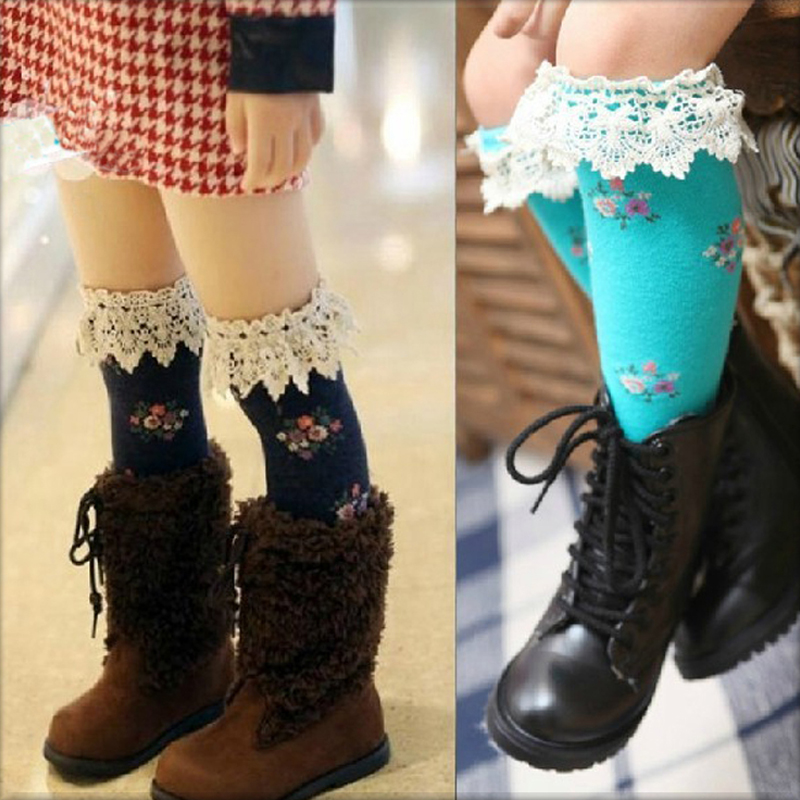 Girl autumn socks kids children's knee BOOT high socks with Lace Flower baby cotton socks meias socks for children free shipping