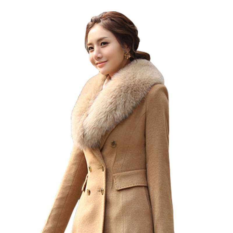 Free Shipping 2013 Women Woolen Outerwear Ultralarge Faux Fox Fur Wool Coat Women's Long Wool Winter Coats(China (Mainland))