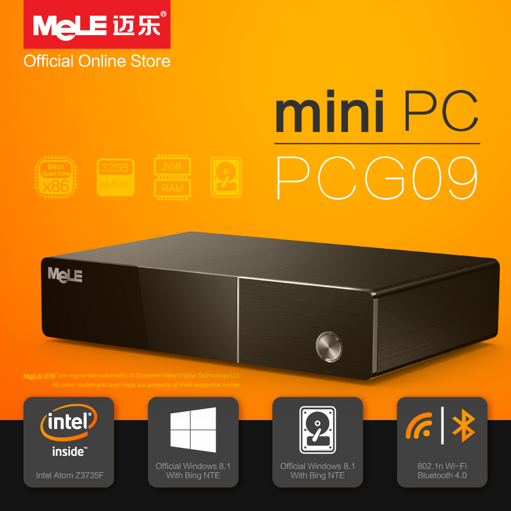Fanless Intel Mini PC MeLE PCG09 Quad Core Z3735F 2G DDR3 32G eMMC Support 2.5 SATA HDD HDMI VGA LAN WiFi Bluetooth Windows 8.1(China (Mainland))