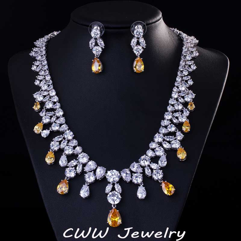 Luxury Big Water Drop African CZ Diamond Beads Necklace Women Wedding And Engagement Jewelry Sets With White Gold Plated T195<br><br>Aliexpress