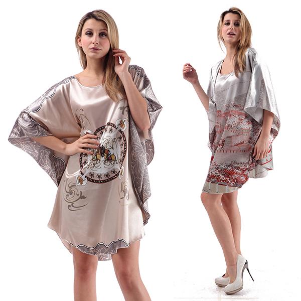 Women Sleepwear Silk Blend Robe Wrap Dress Gown Bath Robes Dress Japanese Kimono(China (Mainland))