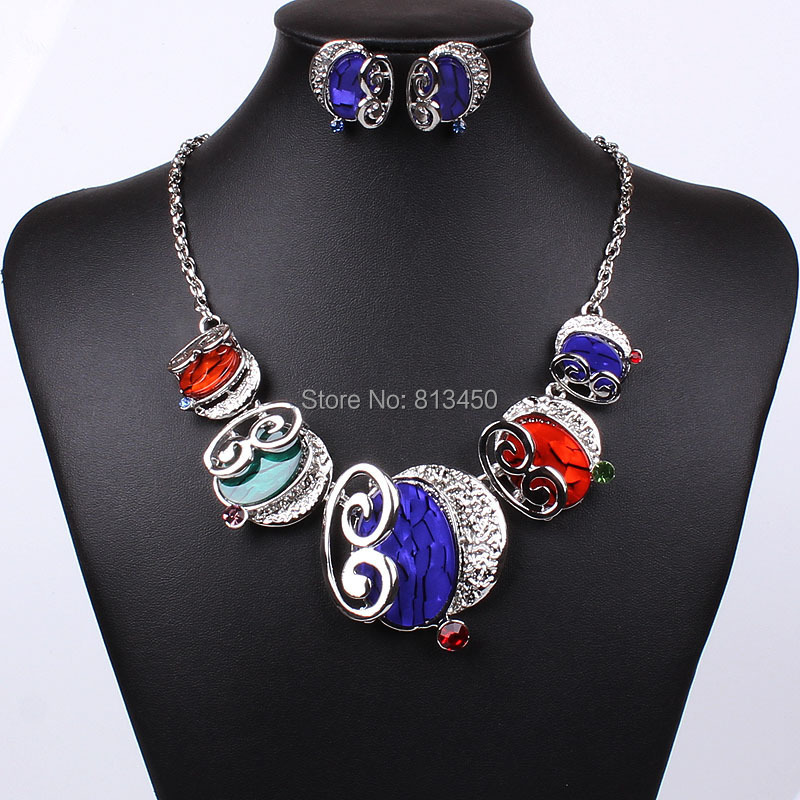 Bridal necklace wedding resin oval jewelry sets MD-1428 - Seven Star Technics store