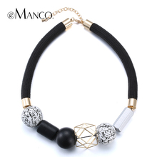 //Black rope choker necklace wooden jewelry// geometric wooden beads short necklace fashion jewelry minimalistic 2015 eManco(China (Mainland))