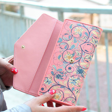 Neon Color Women Wallet Fashion Floral Wallets Vintage Clutch PU Leather Card Holder Handbag Carteira Feminina
