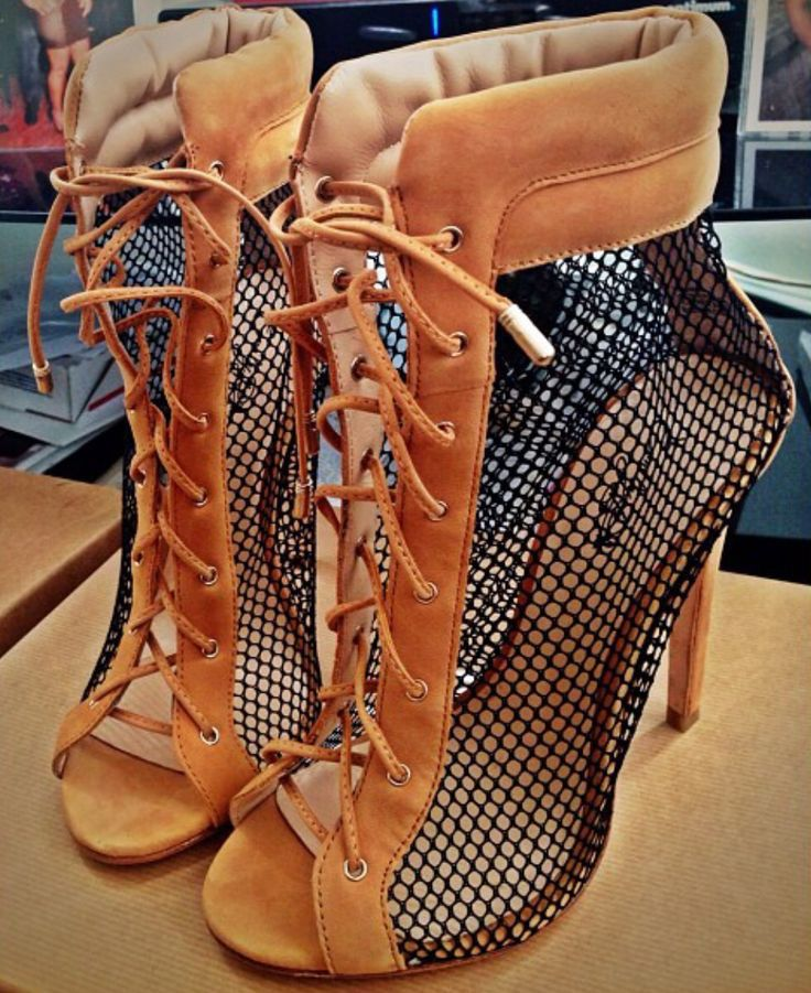 Фотография Fashion Cool Grid Ankle High Heel Boots Stylish Ladies Peep Toe Short Sandal Boots Lace Up Hollow Out High Heel Pumps