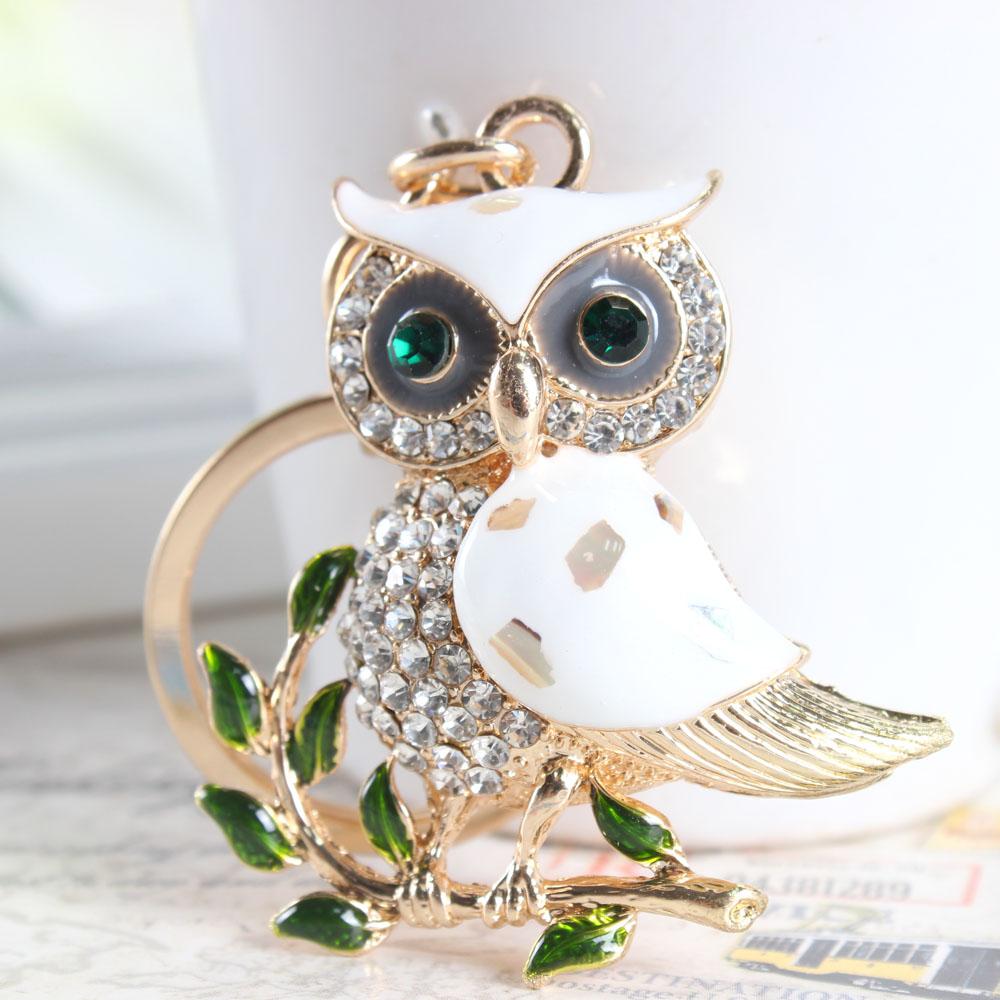 חמוד ינשוף ענף לבן קריסטל קסם הארנק מהתיק את המפתחות של האוטו מחזיק מפתחות מחזיק מפתחות מסיבת חתונה, מתנת יום הולדת