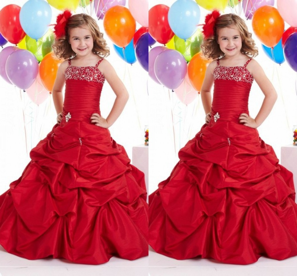 Charming Red Flower Girl Dresses For Wedding Beading Spaghetti Straps Ball Gowns Taffeta Pageant Gowns Princess Party Dressess(China (Mainland))