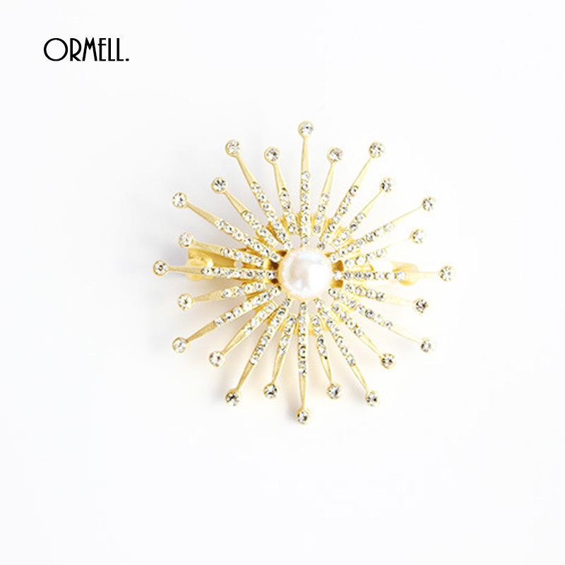 Fashion Brooches Pins Gold Vintage Crystal Simulated Pearl Brooch Snowflake Flower For Wedding Womens Brooch(China (Mainland))