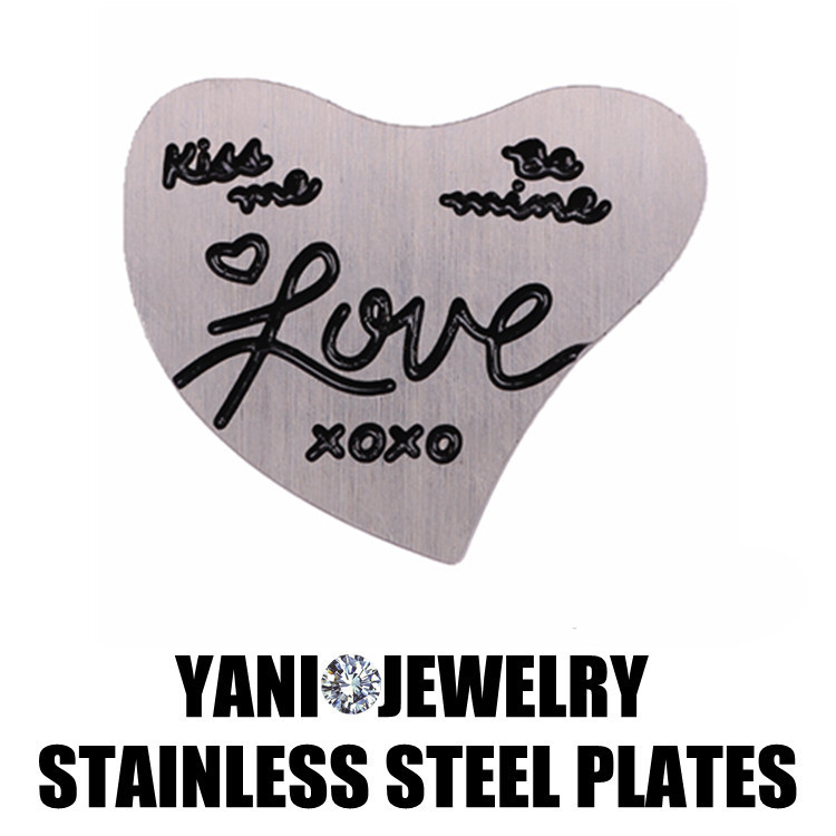 10pcs/lot Free shipping LOVE Plates Charms Stainless steel Curve Heart Plates fit Glass Floating Locket(China (Mainland))