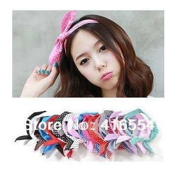 Fashion Korea Rabbit Bunny Ear DIY Wire Headband Scarf Hair Band Bow Head Wrap Polkadot FREE SHIPPING 36PCS/LOT